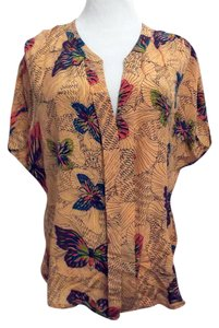 Pookie and Sebastian Silk Butterfly Print Butterfly Top Peach with Multi-Color Pattern