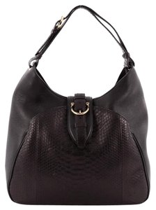 Salvatore Ferragamo Leather Python Hobo Bag