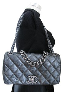 Chanel Euc Gray Medium Cc Lock Shoulder Bag