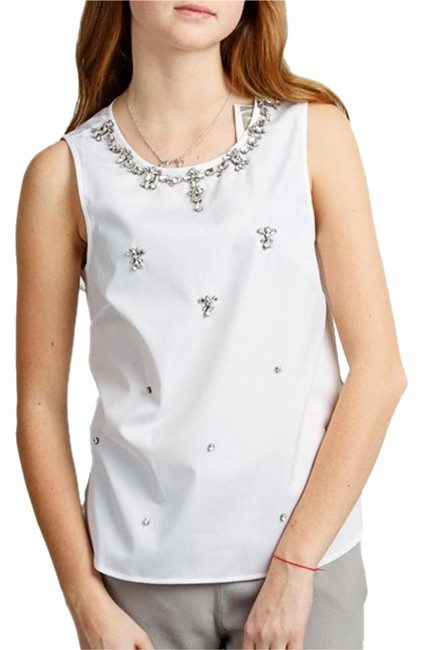 J.Crew White Women's Jeweled Cotton Shell In Blouse Size 8 (M) J.Crew White Women's Jeweled Cotton Shell In Blouse Size 8 (M) Image 1