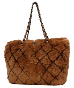 Chanel Rabbit Lapin Gst Neverfull Classic Tote in Brown