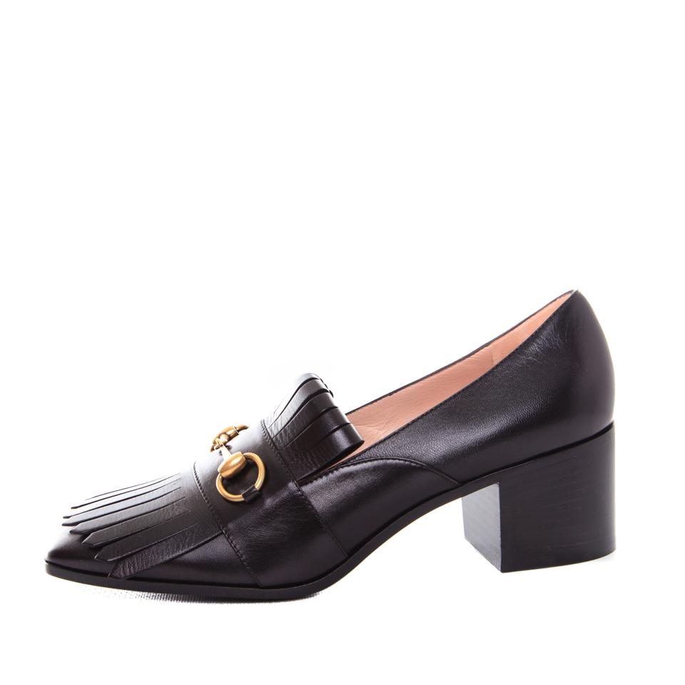 2628e33d599 Gucci Black Horsebit Womens Leather Mid-heel Loafers Slip Ons Mules ...