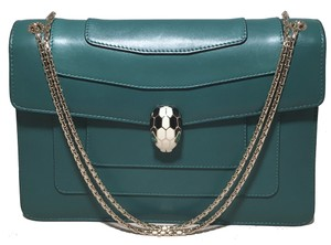 BVLGARI Serpenti Leather Jade Shoulder Bag