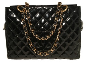 Chanel Patent Leather Shopping Medium Tote in black