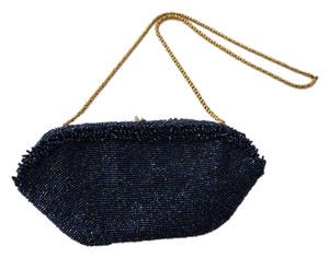 Vintage Vintage Beaded Navy Blue Clutch
