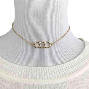 3 Ring Gold Tone Choker Necklace