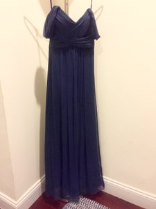 Amsale French Blue Crinkle Chiffon Convertible Gown (G851c) Formal Bridesmaid/Mob Dress Size 4 (S)