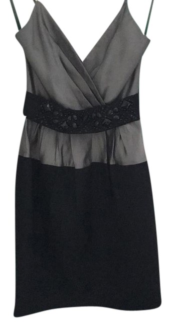 Item - Silver and Black Bcbg Mid-length Cocktail Dress Size 0 (XS)