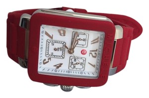 Michele BRAND NEW MICHELE JELLY BEAN PARK RED/ SILVER watch MWW06L000011