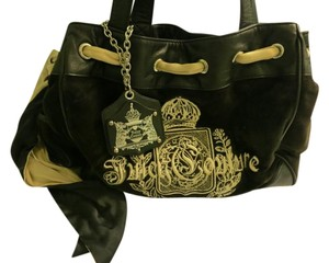 Juicy Couture Velour Bow Black Shoulder Bag