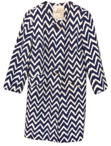 MILLY Chevron Coat Navy Jacket
