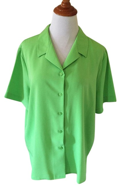 Item - Green Short Sleeve Blouse Button-down Top Size 16 (XL, Plus 0x)