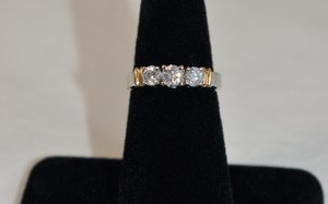1ct. Total Genuine Diamonds 3 Stones Ring 14k White Gold Size 7