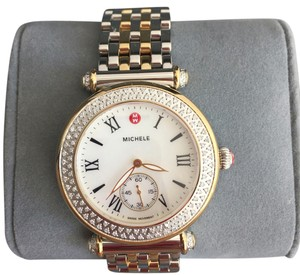 Michele $2200 NWT Caber Diamond MOP Two Tone Gold Watch MWW16A000066