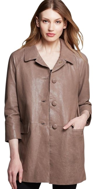 Item - Brown Bow Back Leather Coat Size 6 (S)