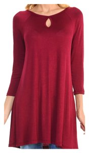 Other Loose Fit Keyhole Plus Size Oversized Holiday Tunic