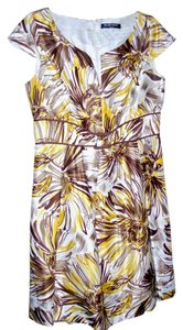 Ellen Tracy short dress Yellow/brown print on Tradesy
