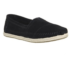 TOMS Classic Suede Slip Ons Rope Sole Black Flats