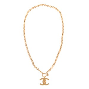Chanel Chanel Vintage Extra Large CC Turnlock Gold Tone Pendant Necklace