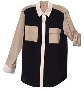 DKNY Button Down Shirt Black/Beige/White