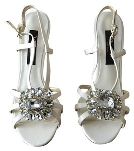 Nina Sparkle Strappy Heels White Pumps