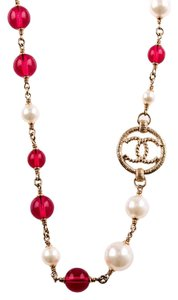 Chanel Chanel Faux Pearl, Red Bead And CC-Logo Sautoir Necklace