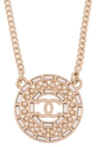 Chanel Chanel Faux Pearl And Crystal CC Logo Medallion Pendant Necklace