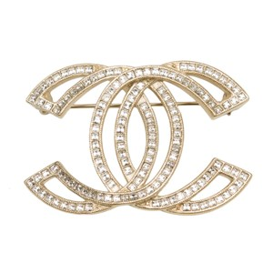 Chanel Chanel Large Crystal And Matte Gold Tone CC Cut-Out Brooch