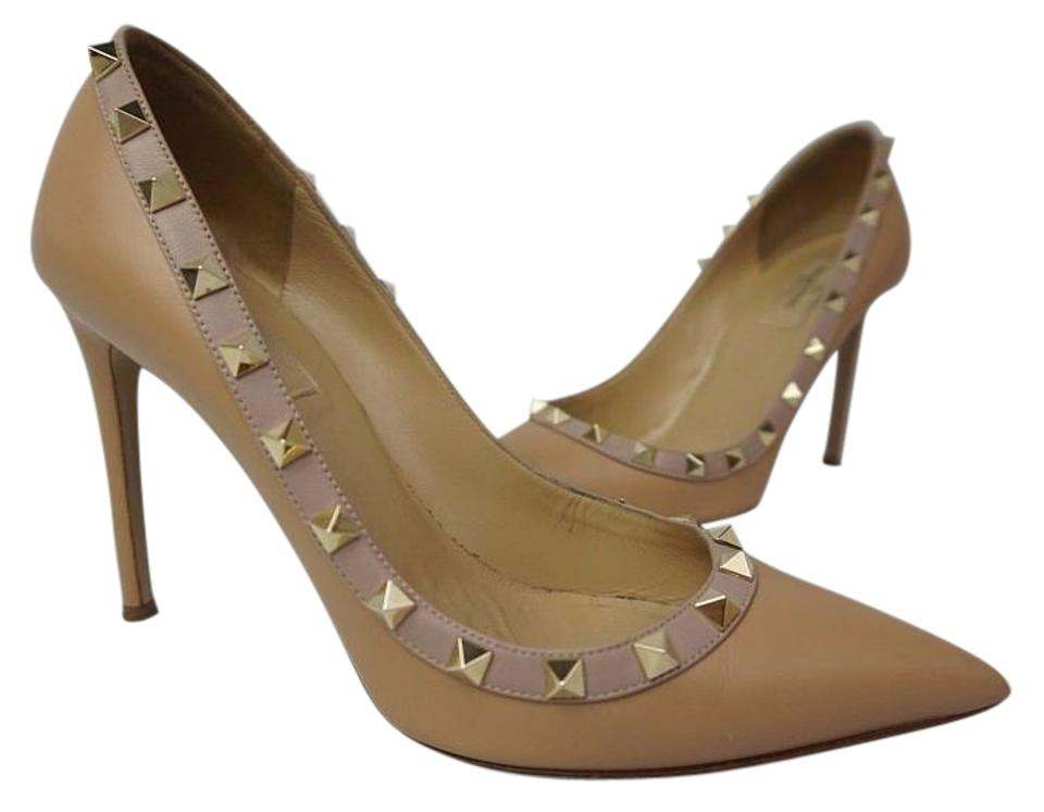 Valentino Pointy Beige Rockstud Heels Pointy Valentino Toe Nude Leather Pumps b7b2db