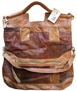Foley + Corinna Tote in Tan & Brown Patchwork