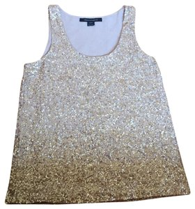 French Connection Sparkle Top Nude Beige/Gold