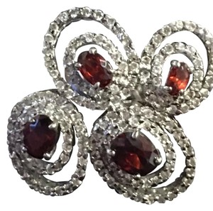 Other Ladies CZ/Red Garnet Ring