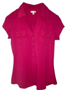 Cache Casual Button Down Shirt Hot Pink Polo with Gold Trim