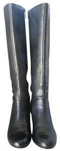 Trotters Luxury Leather Goring Covered Heel Full Zip Box Black Boots