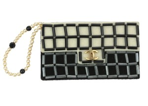 Chanel Vintage Black Beige Felt Beaded Chocolate Bar Flap Brooch