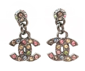 Chanel Chanel Gunmetal CC Rainbow Crystal Dangle Piercing Earrings