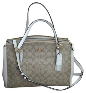 Coach Satchel in LIGHT KHAKI/ CHALK