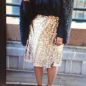 Ava & Viv Skirt Gold sequin w black undertone