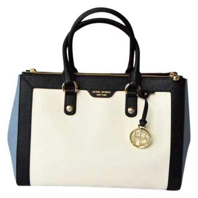 Item - Carry All Colorblock West 57th Black + White + Blue Leather Tote