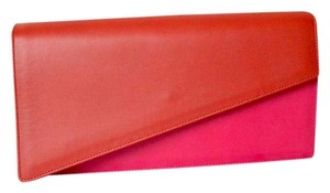 Saint Laurent Ysl Diagonal Leather Pink + Red Clutch