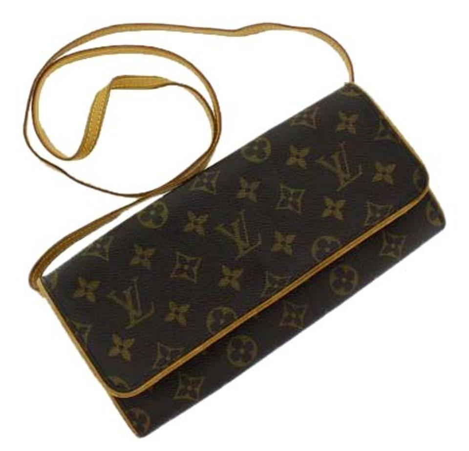 Louis Vuitton Twin Pochette Gm Monogram M51852 Brown Leather Cross ... bcfb1cf3f44cf
