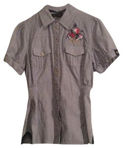 Coogi Button Down Shirt Blue/ white