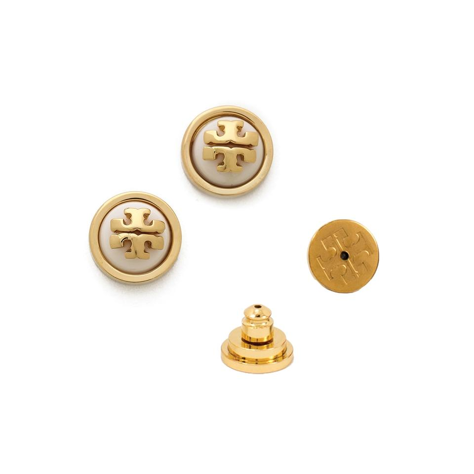 Tory Burch Melo Logo Stud Earrings Ivory Shiny Gold