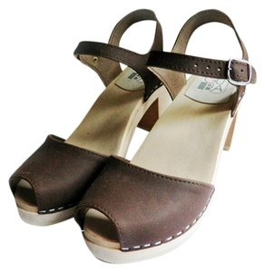 Maguba Swedish Clogs Open Toe Ankle Strap Leather brown Mules