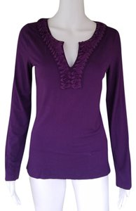 Boden Long Sleeve Y-neckline T Shirt Purple