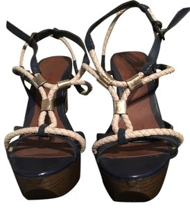 Andrea Navy with off white and brown Sandals