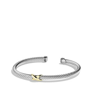 David Yurman Cable Classics X Station Bracelet with Gold (Medium)