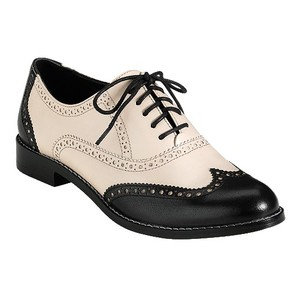 Cole Haan Lace Ups Wing Tip Brogue Black & White Flats