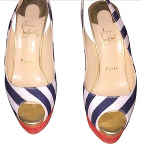 Christian Louboutin Blue white and red Platforms