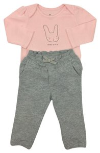 babyGap Longsleeve Elastic Cotton Winter Casual T Shirt PINK/ GREY